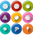 Round icons with the different sports balls vector