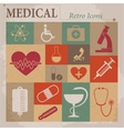 Medical flat retro icons vector