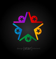 Coloured star abstract design element on black vector