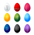 Easter eggs colorful with floral ornament vector