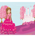 Beautiful little princess in front of her castle vector