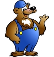 Hand-drawn of an bear in blue overalls vector