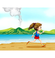 A girl running along the seashore vector