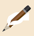 White hand with big pencil vector