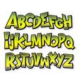 Cartoon comic doodle graffiti alphabet vector