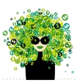 Woman portrait with dollar signs hairstyle for vector