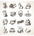 Spa sketch icons vector
