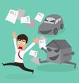 Businessman escape debt car house and bill vector
