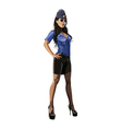 Beautiful sexy woman in police uniform blouse vector