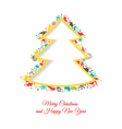 Abstract christmas tree made of christmas items vector