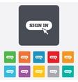 Sign in with cursor pointer icon login symbol vector
