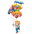 A happy young man holding clown balloons vector