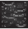 Set of retro ribbons on chalkboard background vector