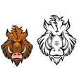 Head of angry boar vector