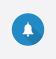 Bell flat blue simple icon with long shadow vector