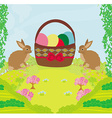 Greeting card with easter rabbits and basket with vector