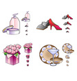 Woman stuff icons vector