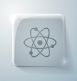 Atom molecule glass square icon vector