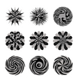 Illustrated decorative set of circular floral shap vector