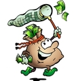 Hand-drawn of an money sack hunting cash vector