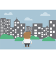 Businessman looking to silhouette city vector