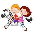 Cartoon boy and girl riding a zebra vector