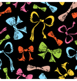 Colourful ornate bows on black background vector