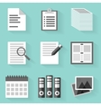 Flat icon set paper white style vector