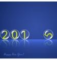 Transparent rolling glass balls on blue background vector