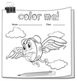Coloring worksheet with a clock and a pencil vector