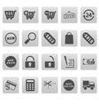 Shopping icons on gray squares vector
