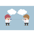 Businessmen talking on can phone vector