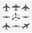 Plane black icons vector