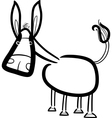 Cartoon cute donkey for coloring book vector
