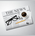 Cup of coffee newspaper and glasses vector