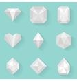 Flat icon set diamond white style vector