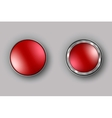 Two red buttons realistic vector