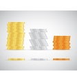Stacks of coins gold silver and copper template vector