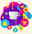 Cup on abstract colorful spotted background with vector