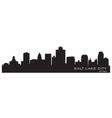 Salt lake city utah skyline detailed city silhouet vector