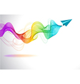Abstract colorful background with paper air plane vector