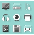 Flat icon set computer white style vector