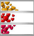 Colorful love paper banners with heart bubbles vector