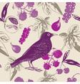 Vintage bird berry pattern vector