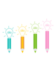 Set of pencils and shining light bulbs business id vector