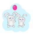 Love bunny balloons vector