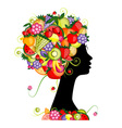 Female profile silhouette hairstyle with fruits vector