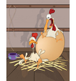 Hen and cock the big egg cartoon vector