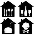 Set home icon with kithen utencil vector