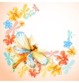 Flying dragonflies with flowers vector